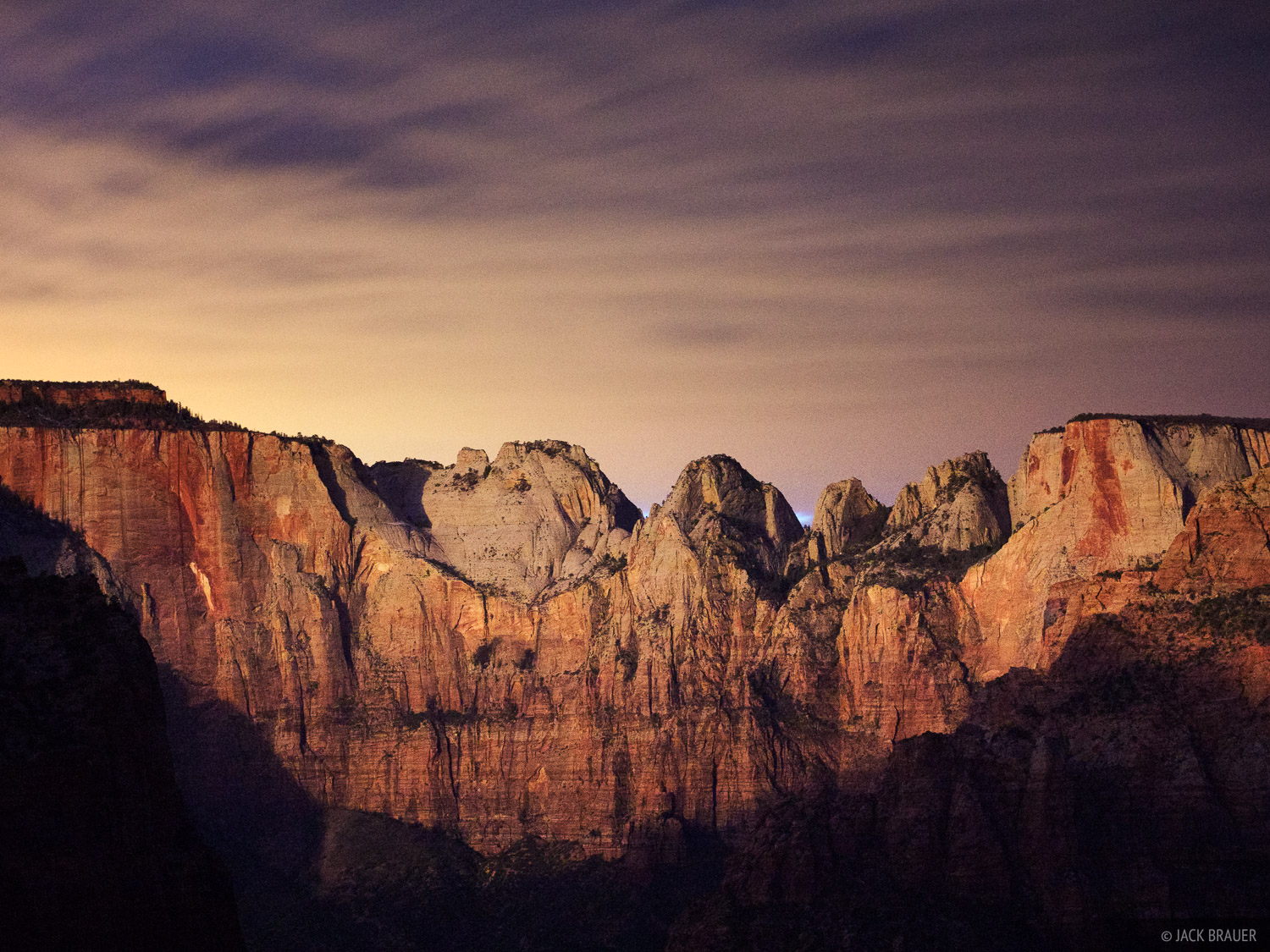 moonrise, Three Virgins, Zion National Park, Utah, Canyon Overlook, photo