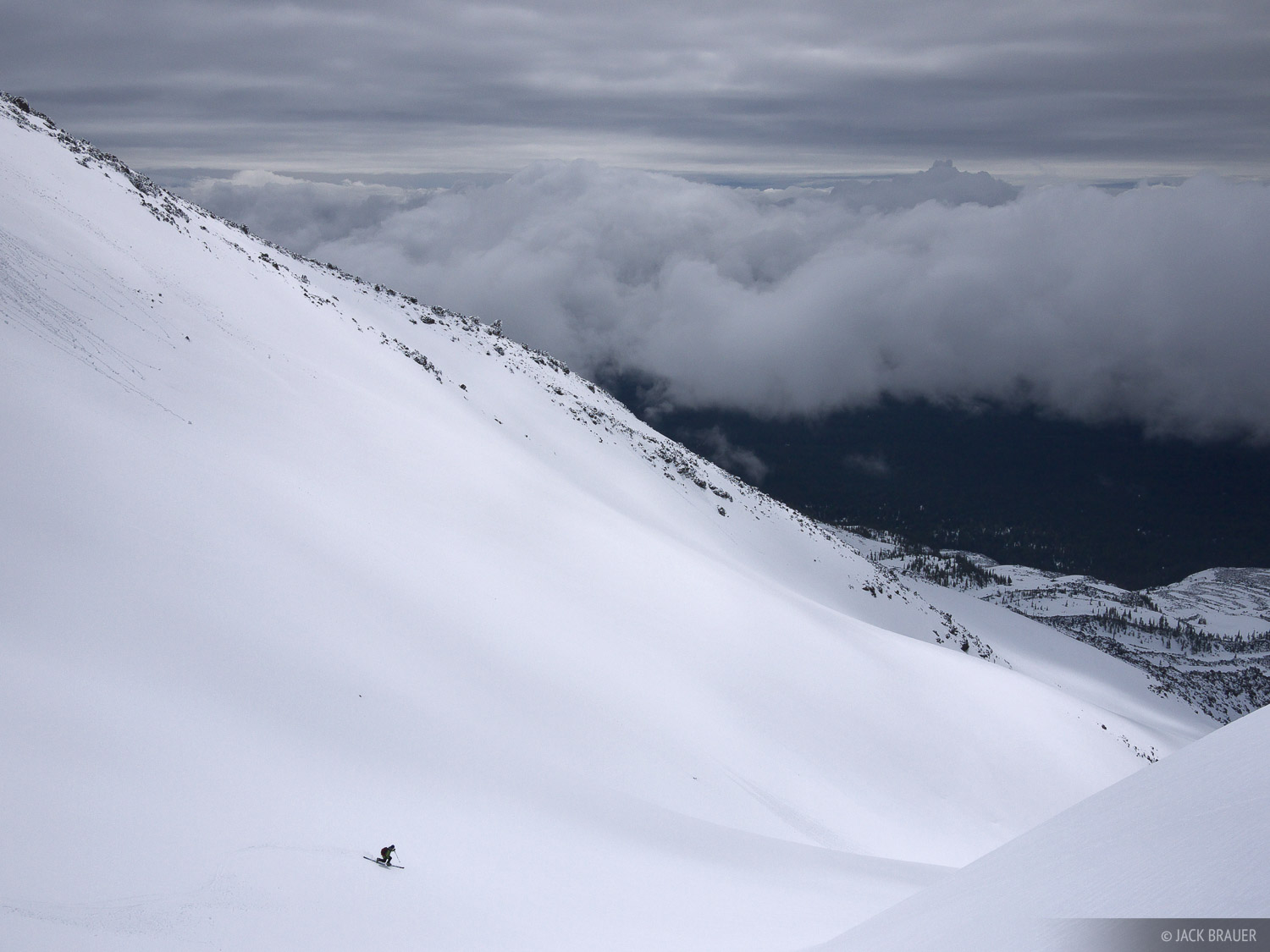 Skiing down Mount Saint Helens