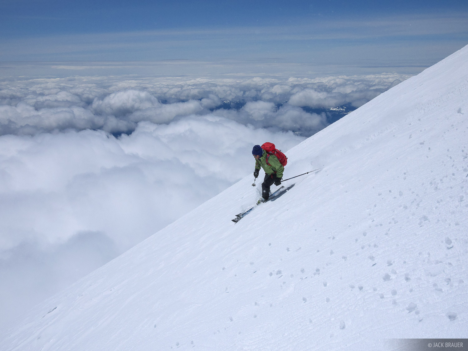 Scott McCurdy skis down Mt. Adams, a 12,276 ft. volcano in Washington - May.