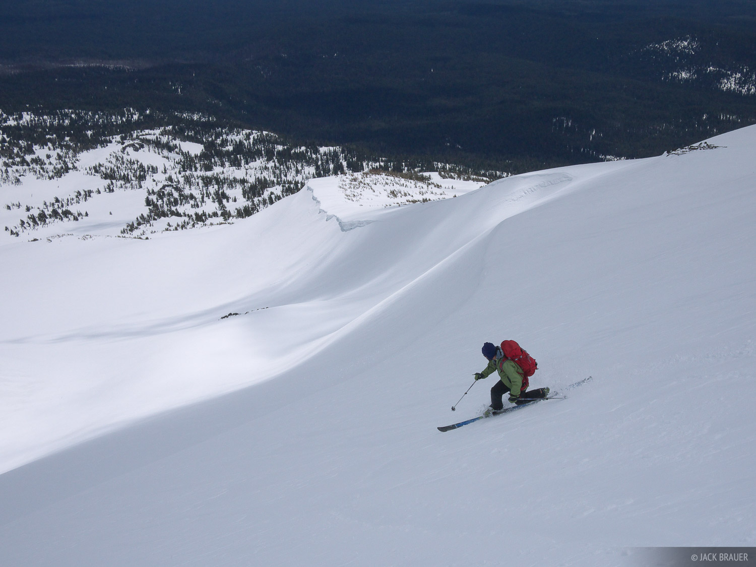 Skiing the lower flanks of Mount Adams