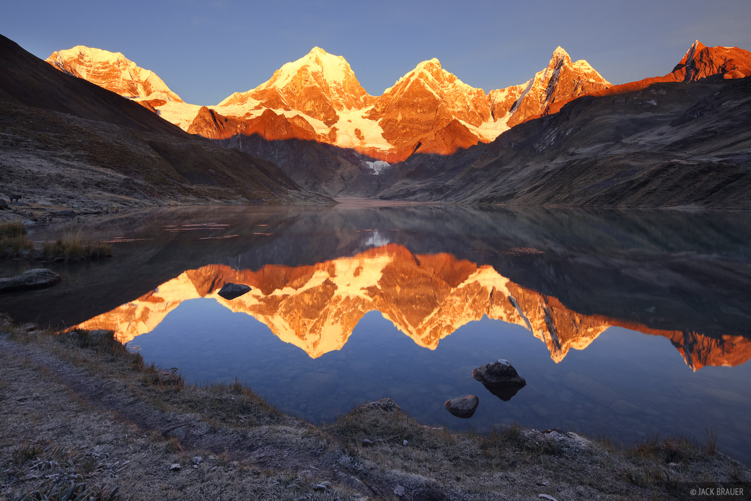 Cordillera Huayhuash, Peru, Yerupaja, Jirishanca, reflection, sunrise, Laguna Carhuacocha, photo