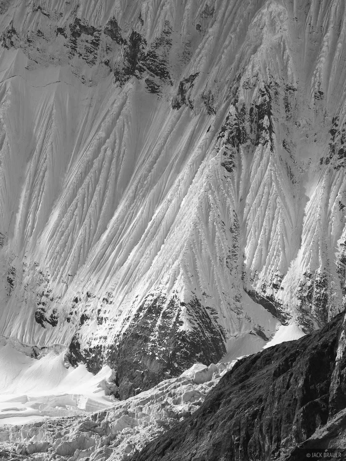 Fluted snow ridges adorn the southern flanks of Yerupaja.
