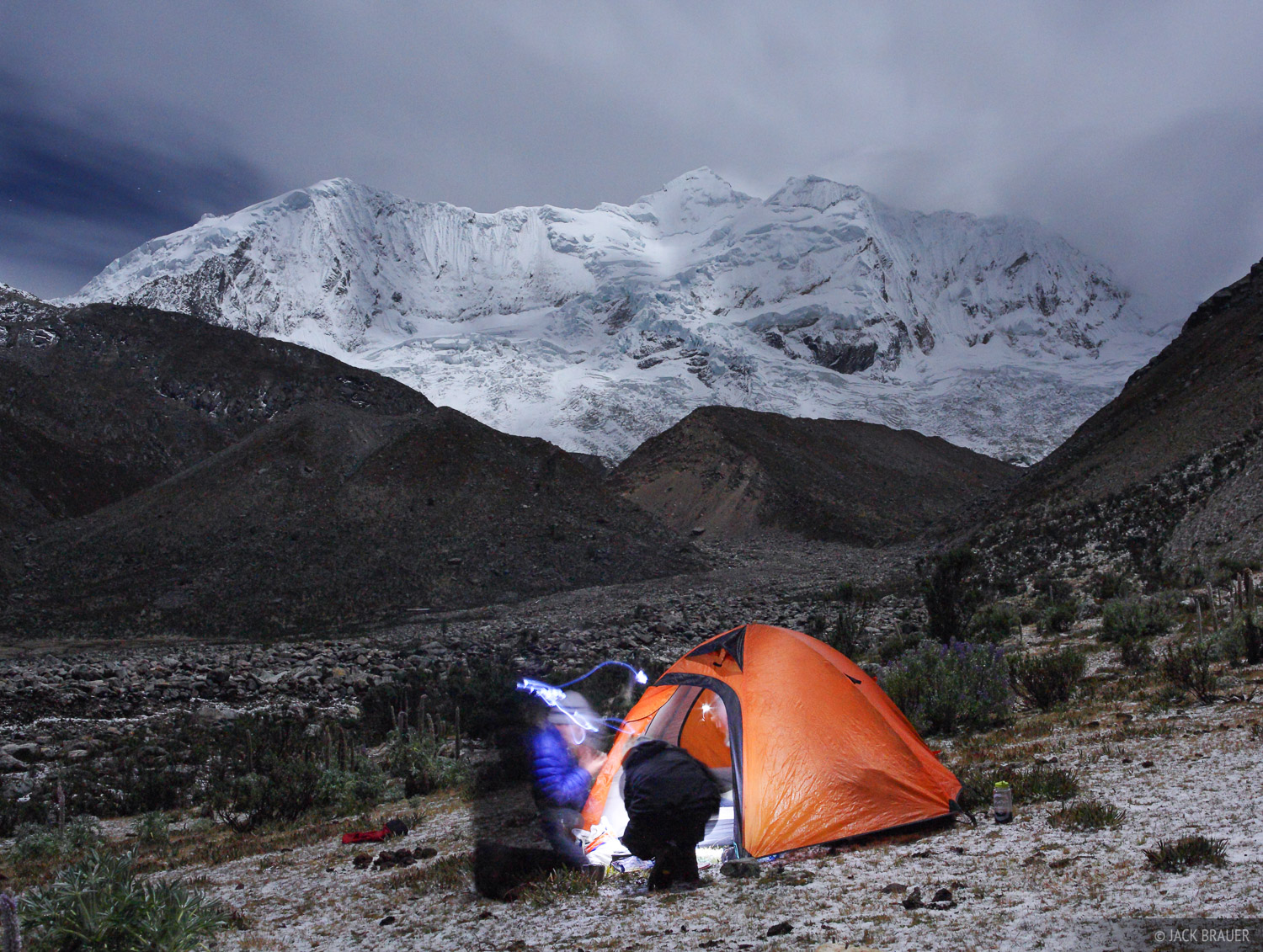 Cordillera Blanca, Peru, South America, moonlight, tent, Cojup, photo