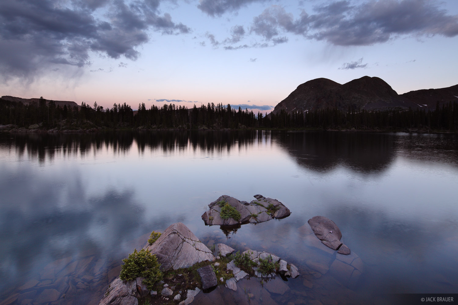 Flint Lake, Weminuche Wilderness, Colorado, reflection, dusk, photo