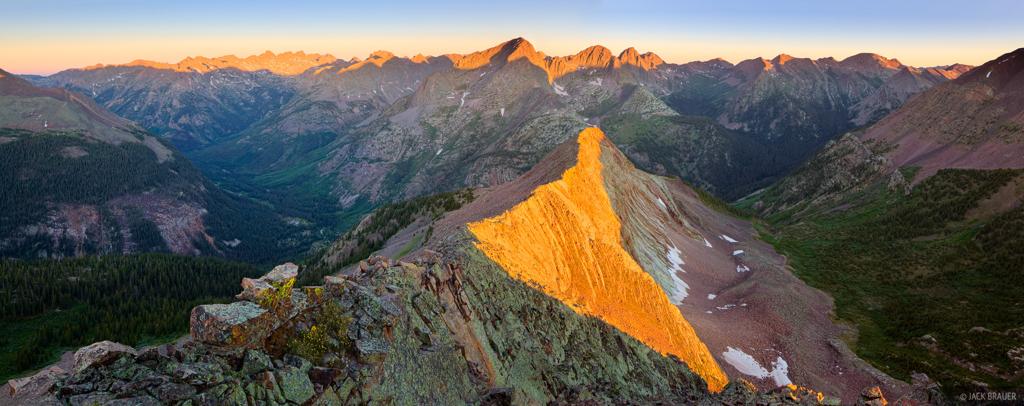 Needle Mountains, San Juan Mountains, Vallecito, Colorado, sunrise, panorama, photo