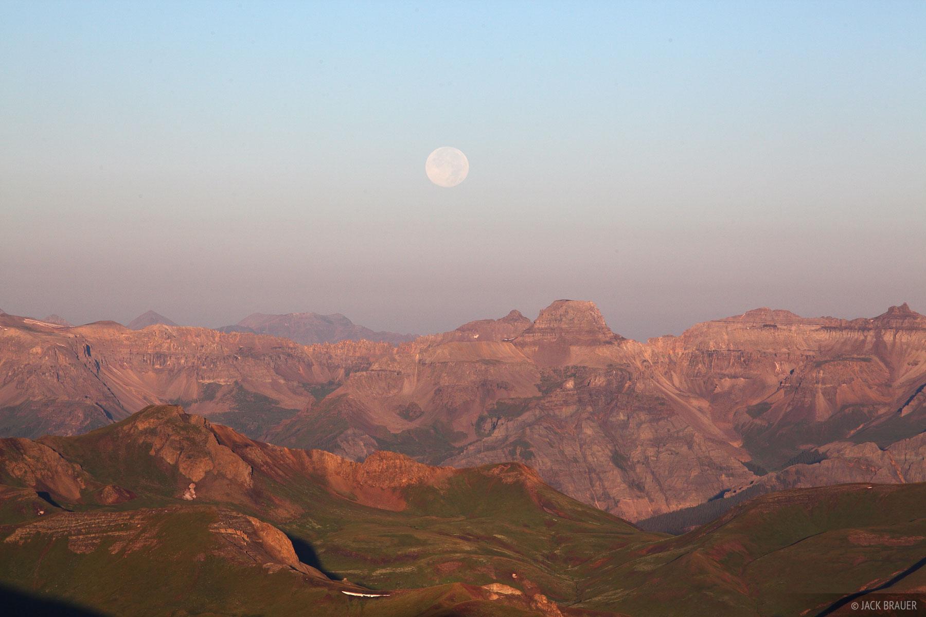 Potosi Peak, Sneffels Range, San Juan Mountains, Colorado, moon, photo
