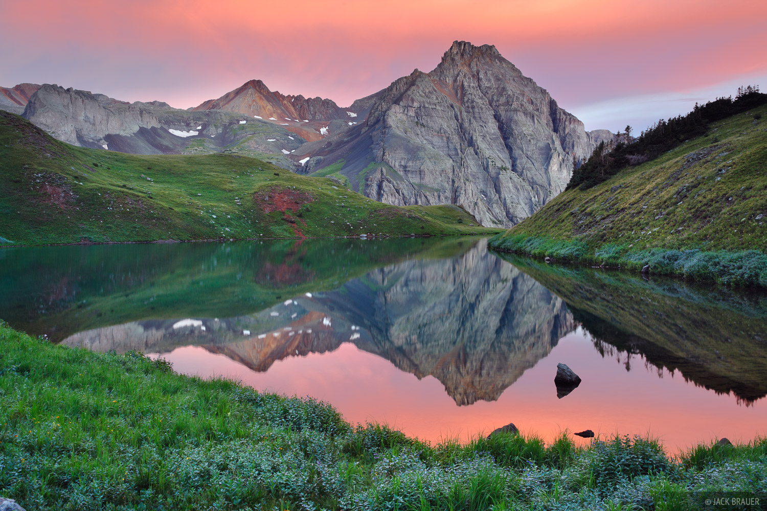 A brilliant sunrise reflection at the middle Blue Lake - August.