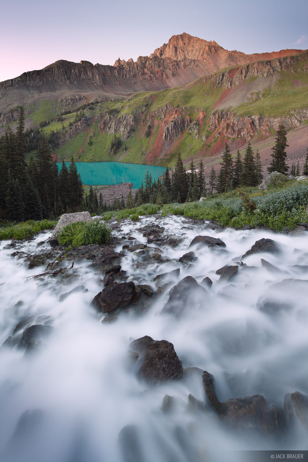 Blue Lakes, waterfall, San Juan Mountains, Sneffels, Colorado, photo