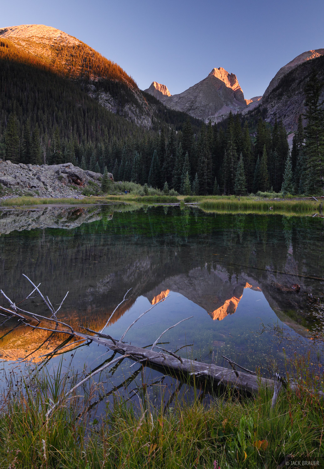 Sunset light on Arrow Peak, reflected in the Beaver Ponds along Elk Creek.