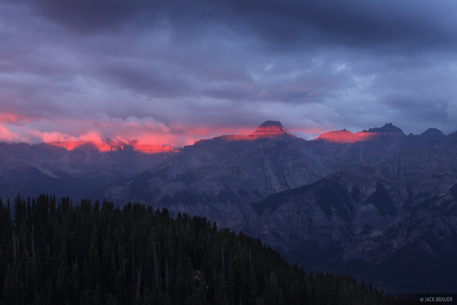 Potosi Peak, San Juan Mountains, sunrise, alpenglow, Colorado, Sneffels Range, photo