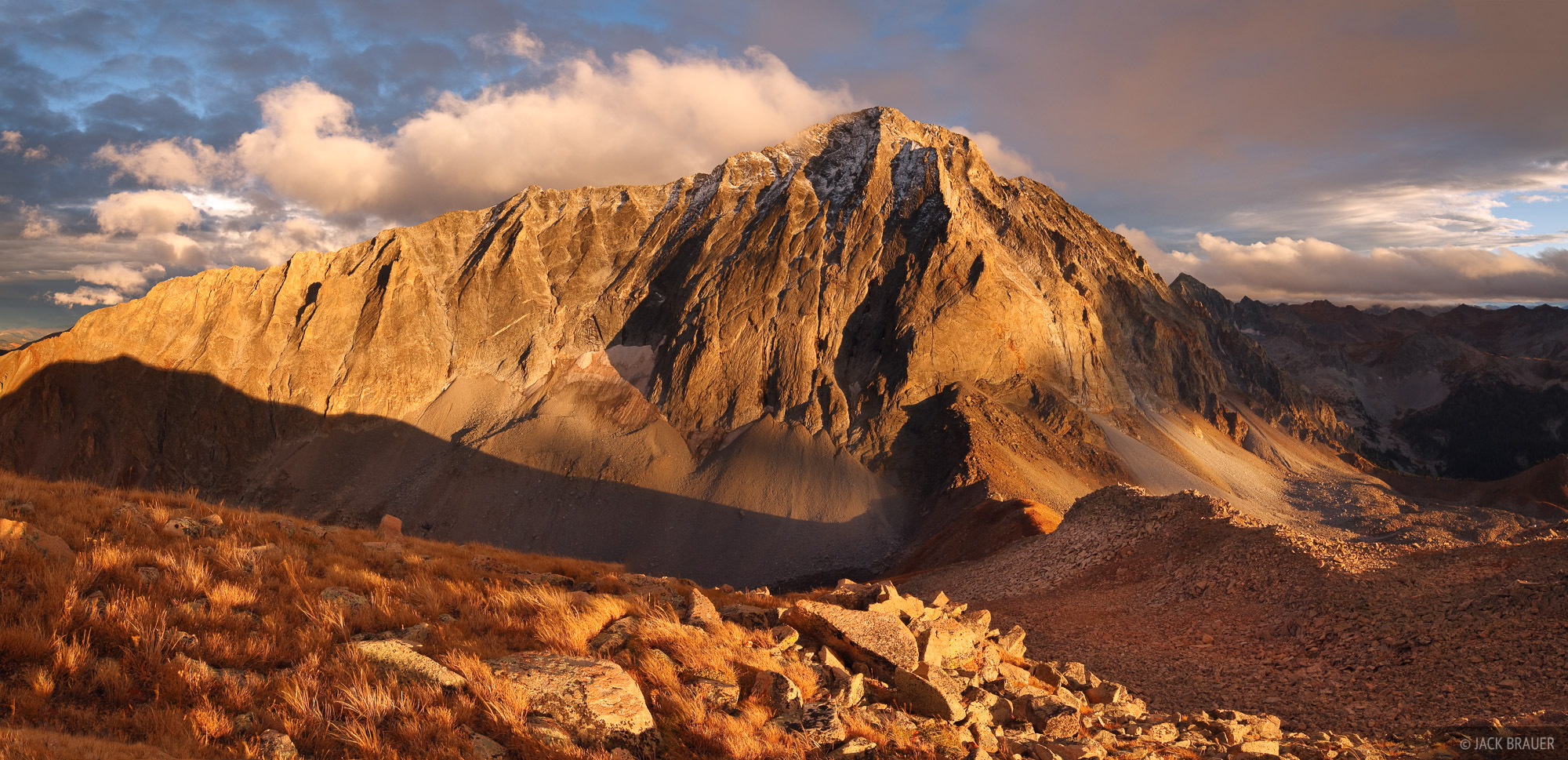 Capitol Peak, Elk Mountains, Colorado, sunset, panorama, Maroon Bells-Snowmass Wilderness