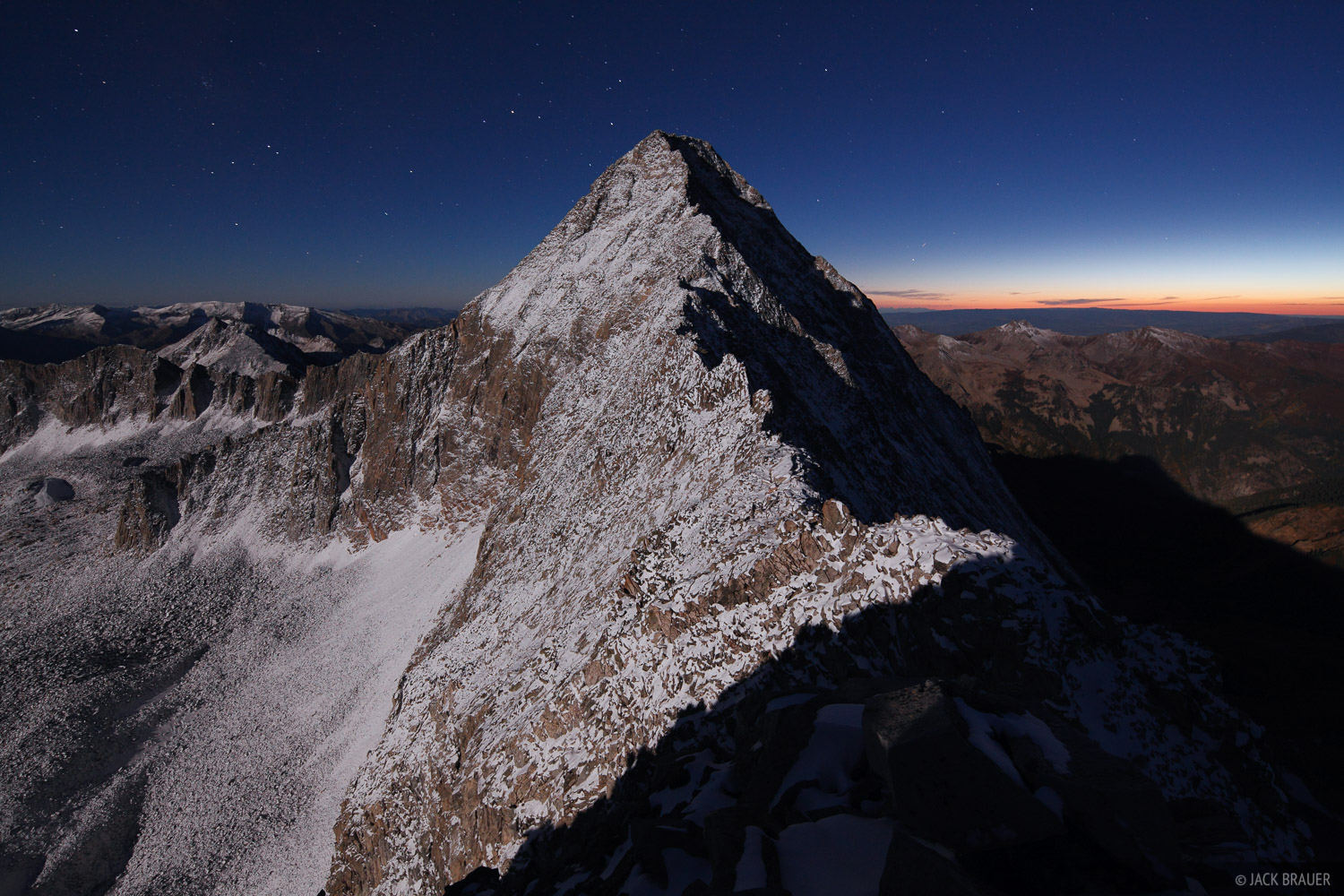 Capitol Peak, Elk Mountains, Colorado, moonlight, Maroon Bells-Snowmass Wilderness, photo
