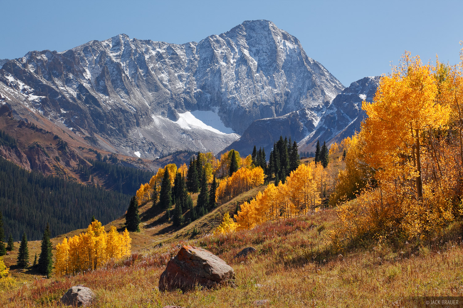 Capitol Peak, Elk Mountains, Colorado, autumn, Maroon Bells-Snowmass Wilderness, photo