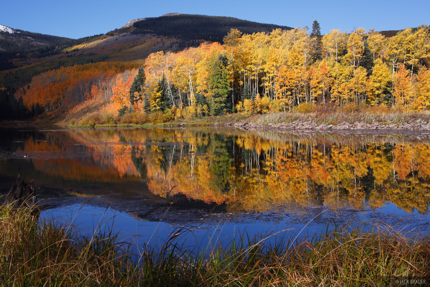 Woods Lake, aspens, autumn, San Juan Mountains, Colorado, Telluride, photo