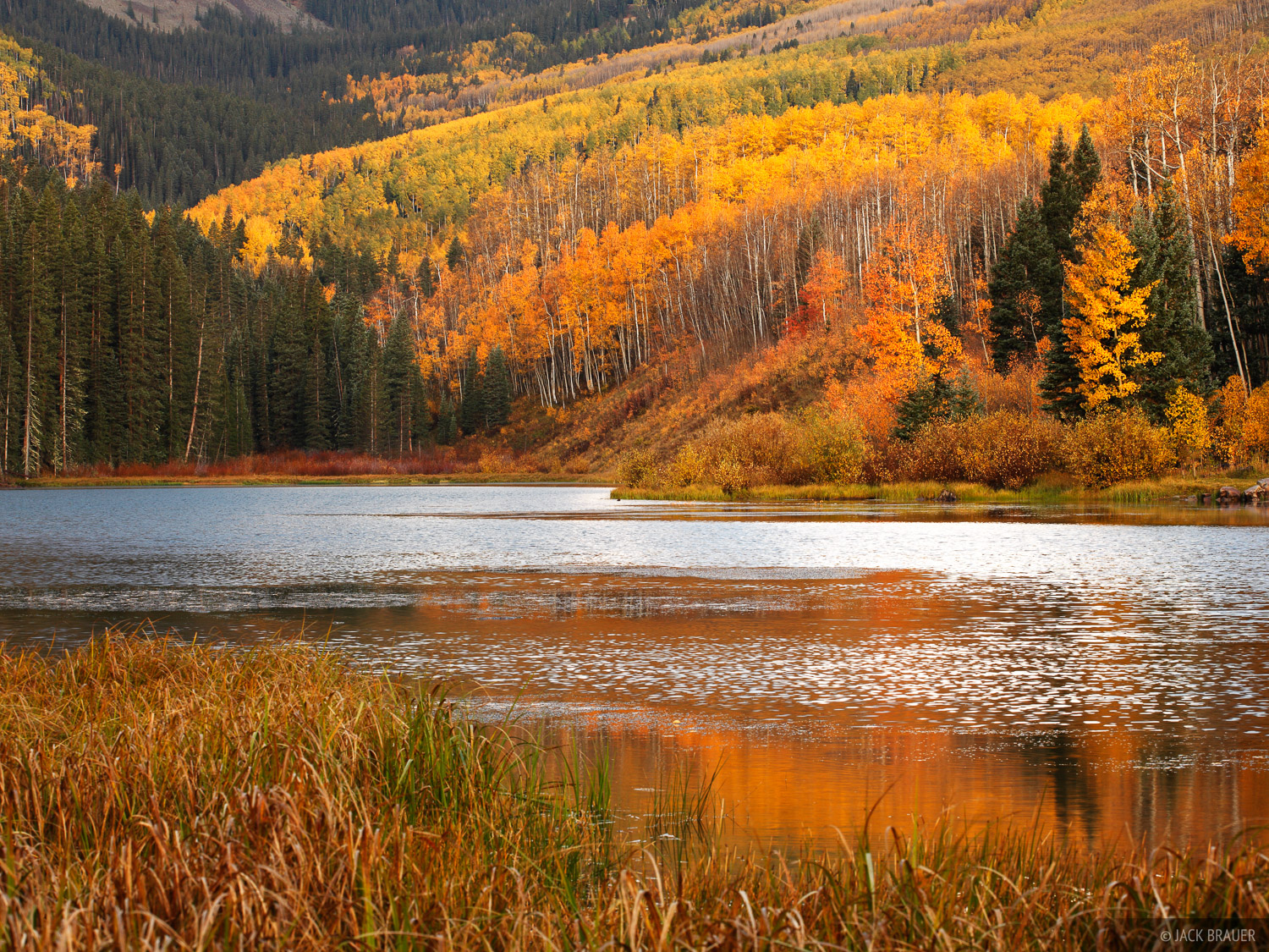 Woods Lake, Telluride, Colorado, San Juan Mountains, autumn, aspens, photo