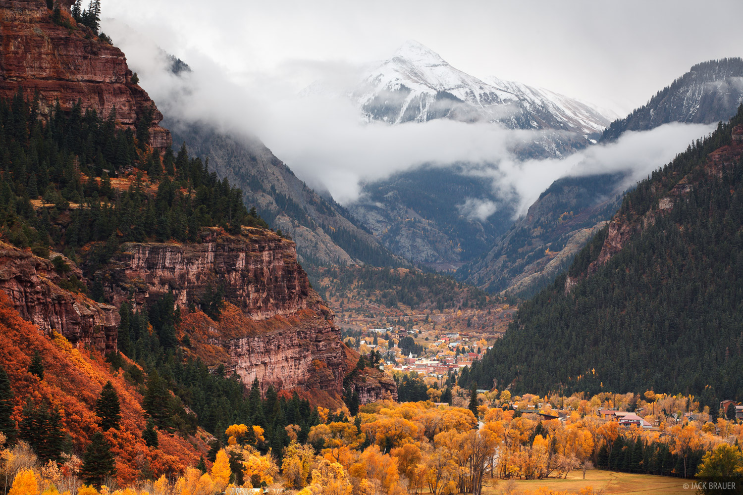 Storm clouds swirl about Mt. Abrams, over the town of Ouray and the Uncompahgre Gorge.