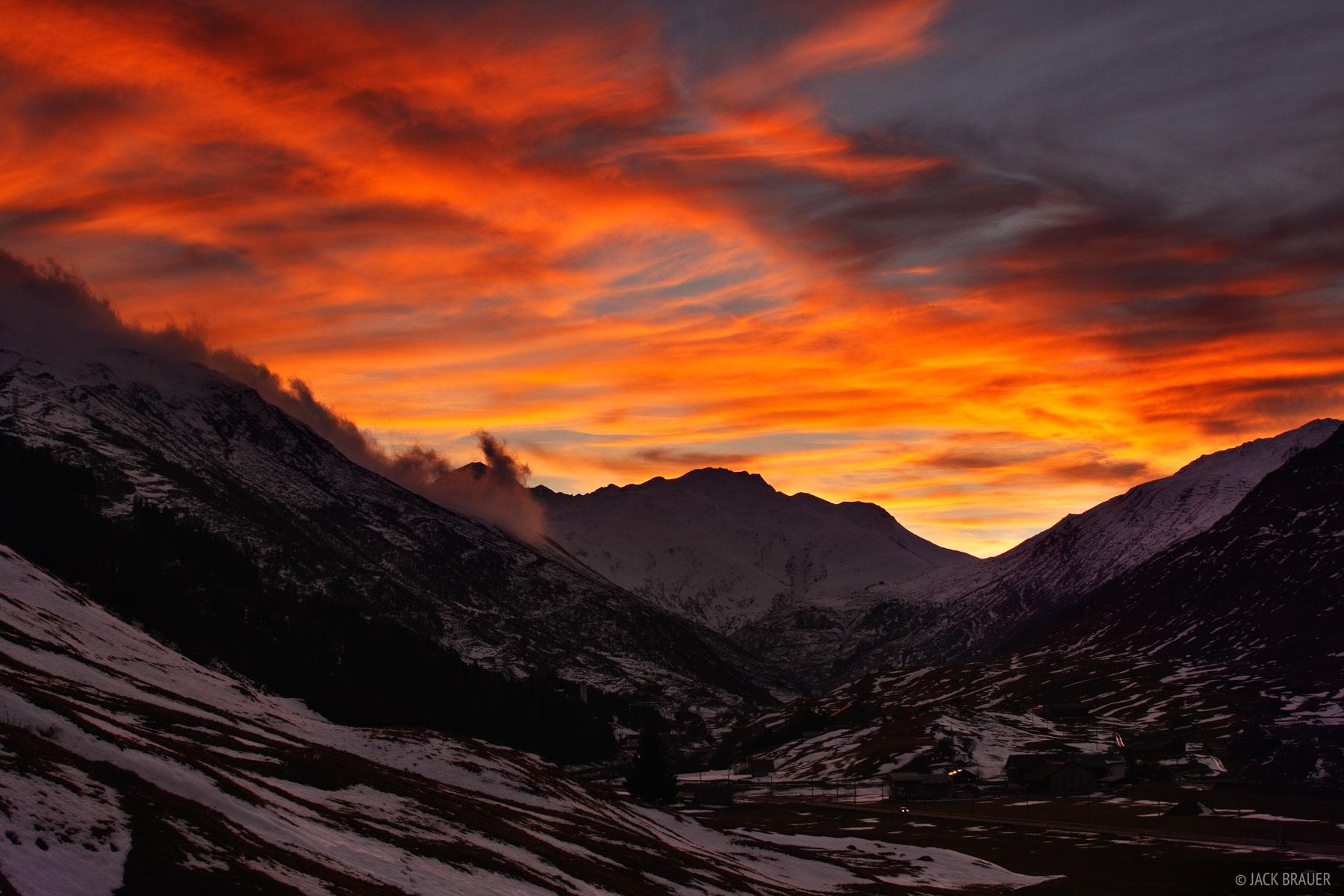 Andermatt, Switzerland, sunset, photo