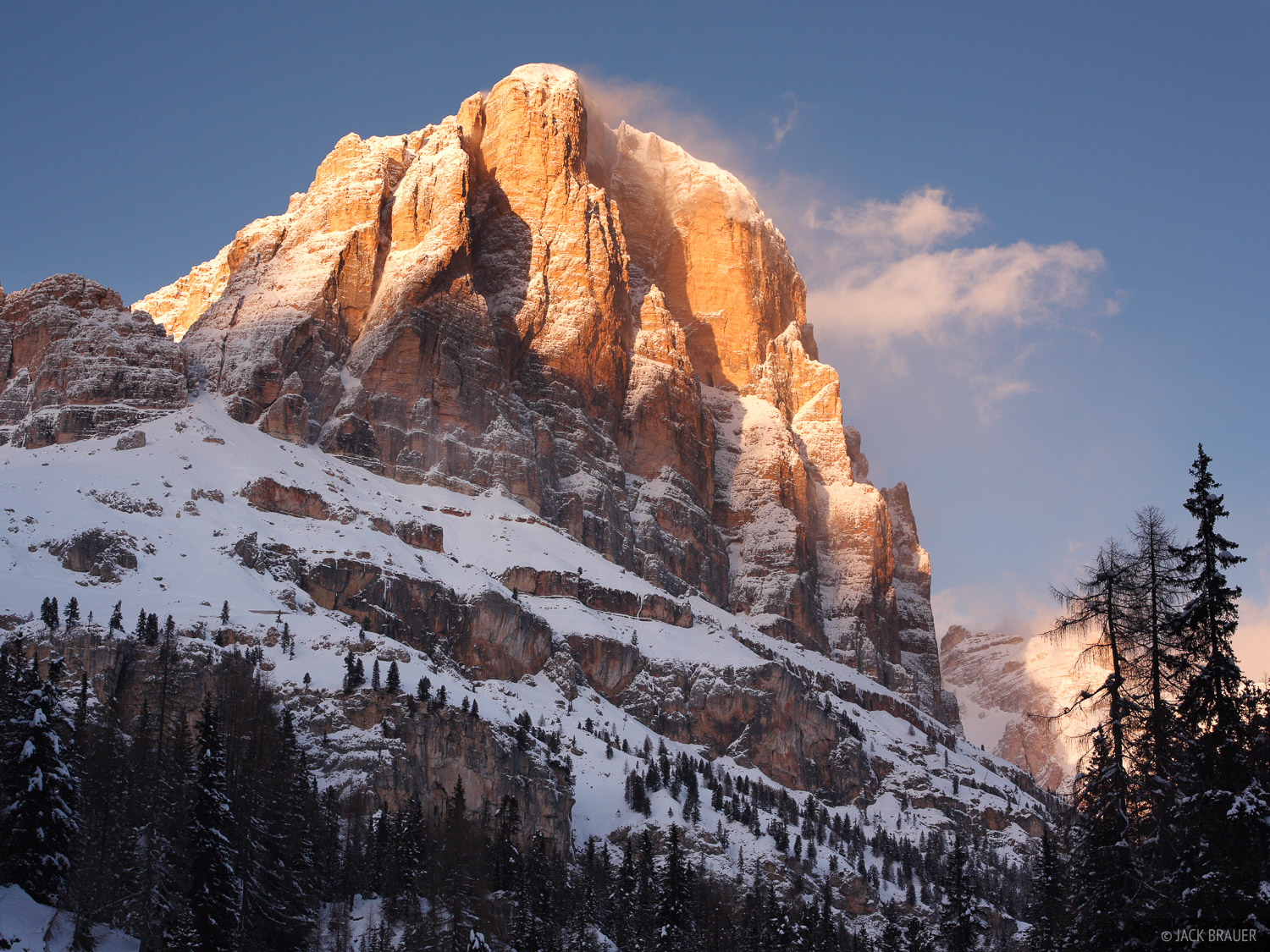 Tofane, Cortina, Dolomites, Italy, sunset, photo