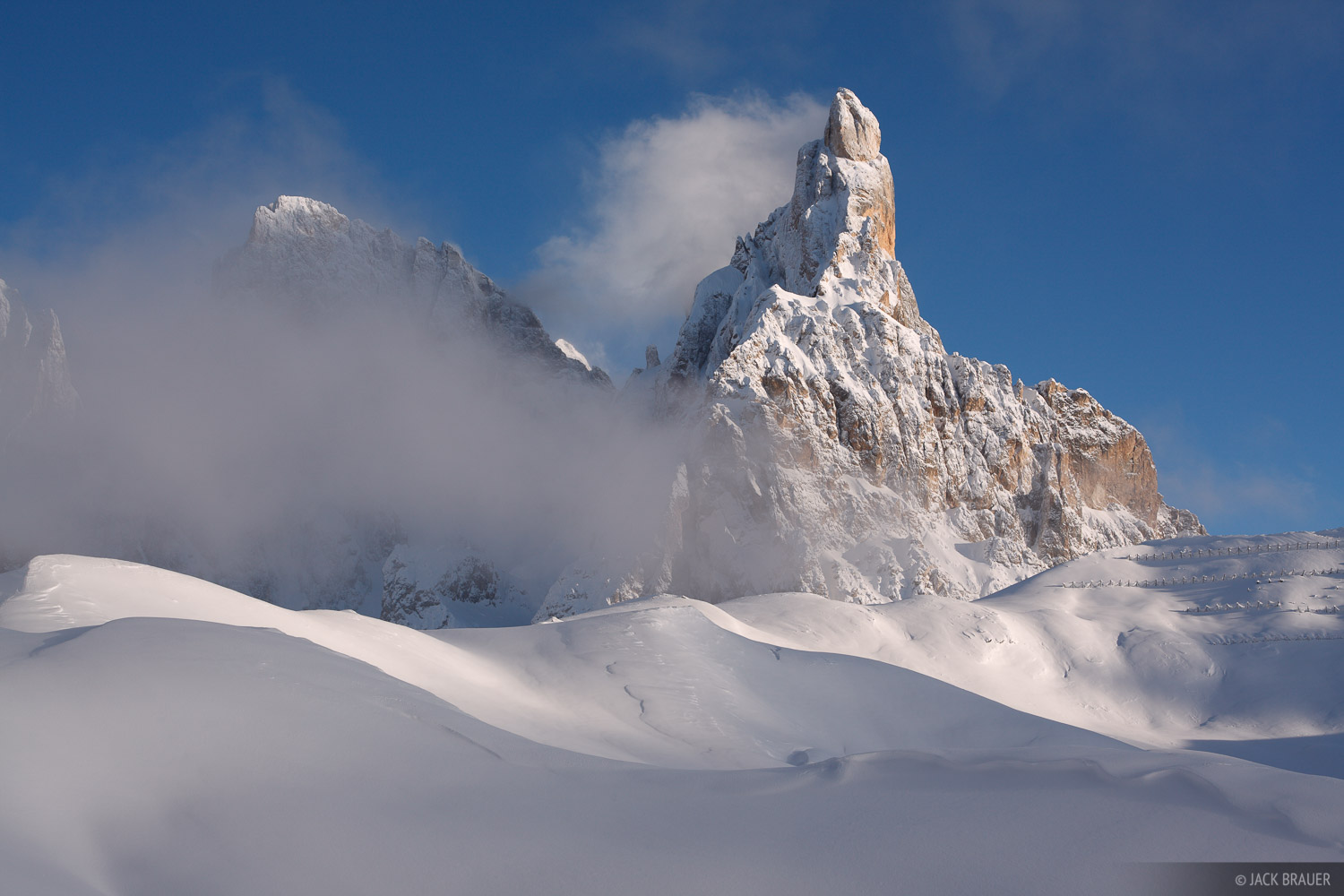 Cimon della Pala, snowy, Dolomites, Italy, December, photo