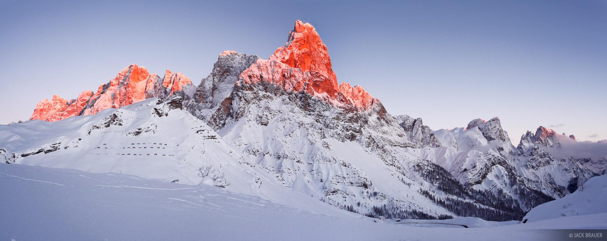 Pale di San Martino, Cimon della Pala, enrosadira, panorama, Dolomites, Italy, photo