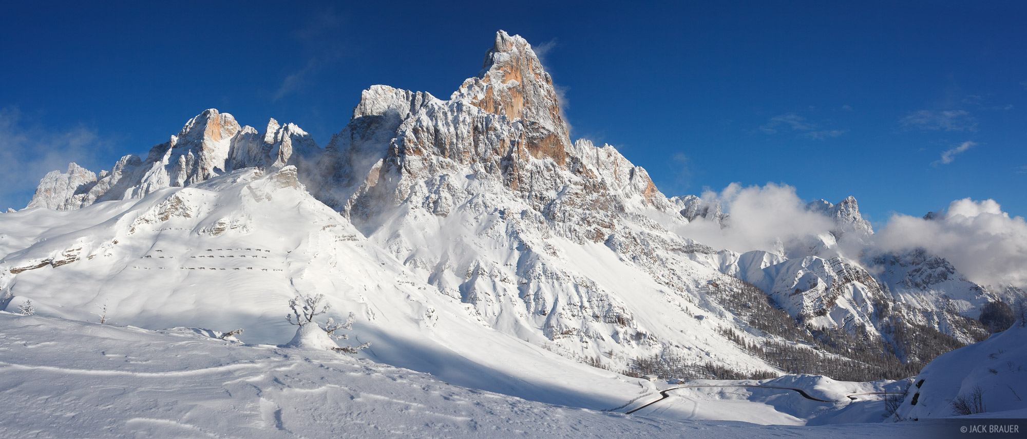 Panorama of Cimon della Pala and the Pale di San Martino range on a glorious December afternoon after a storm has lifted.