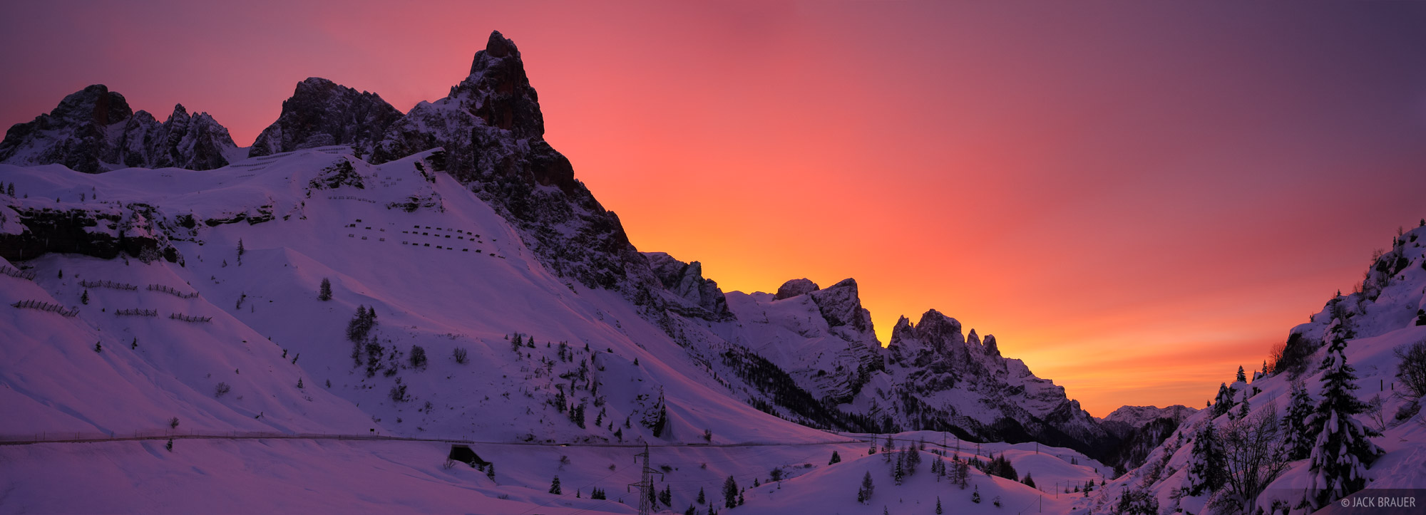 Sunrise over the Pale di San Martino, as seen from Passo Rolle - December.