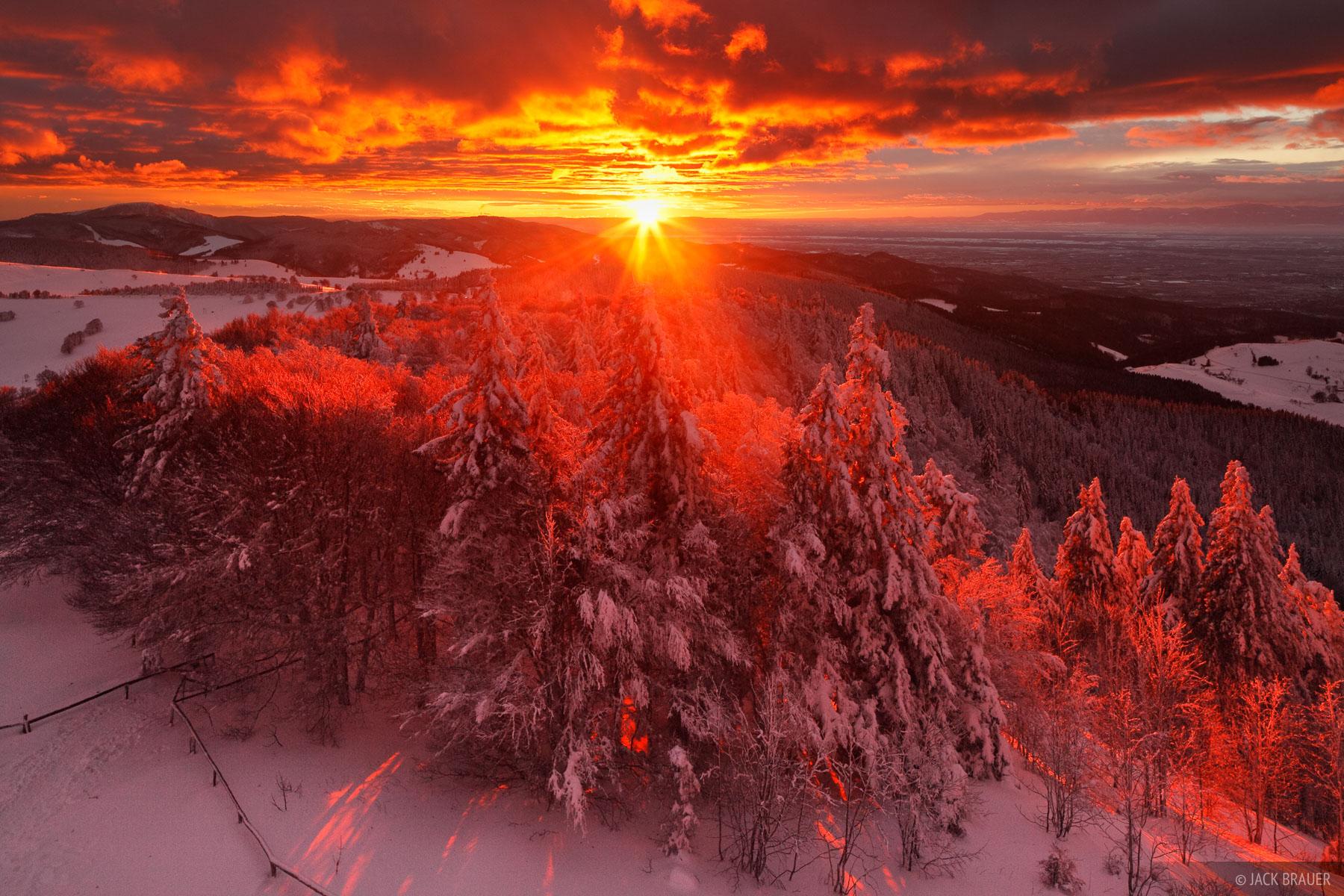 Schauinsland Sunset Black Forest Germany Mountain