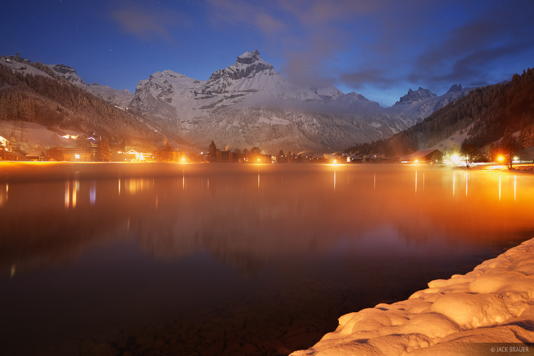 Engelberg, dawn, Switzerland, town, photo