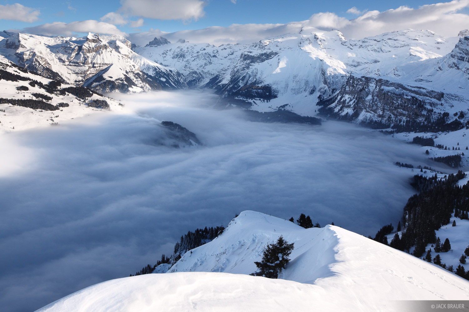 Low clouds envelope the Engelberg valley as seen from Salistock - January.