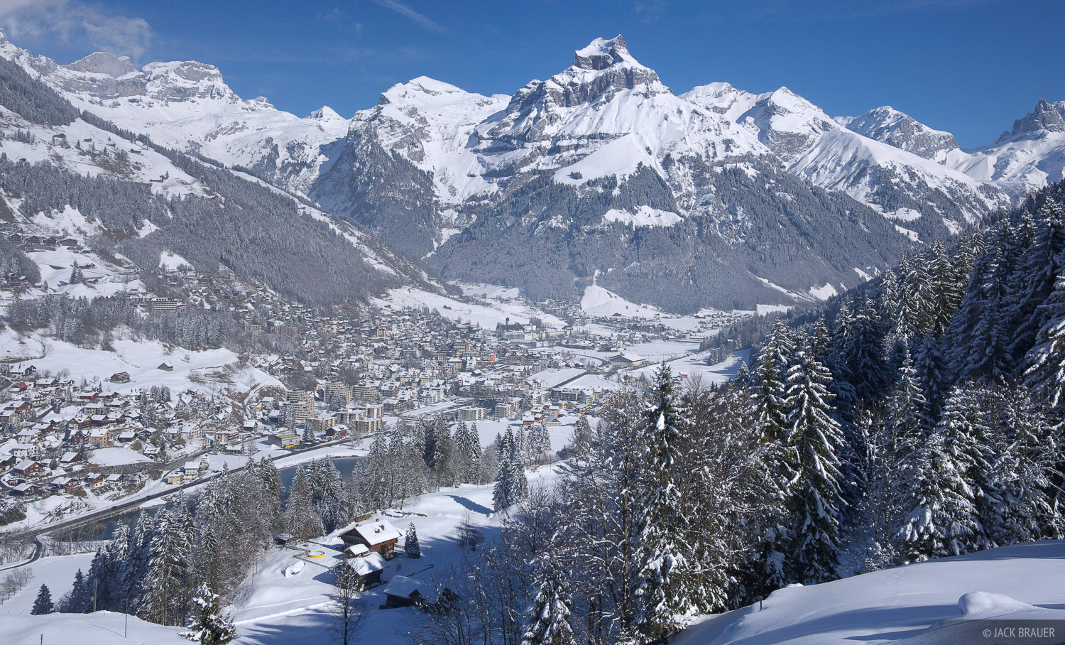 The town of Engelberg covered in fresh snow - February.