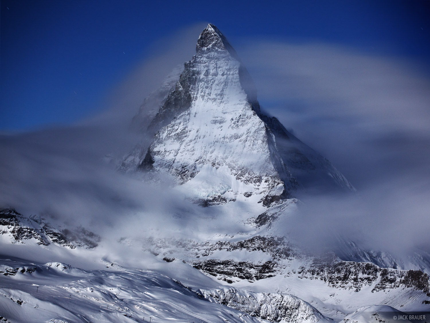 Matterhorn, winter, moonlight, Zermatt, Switzerland, Pennine, photo