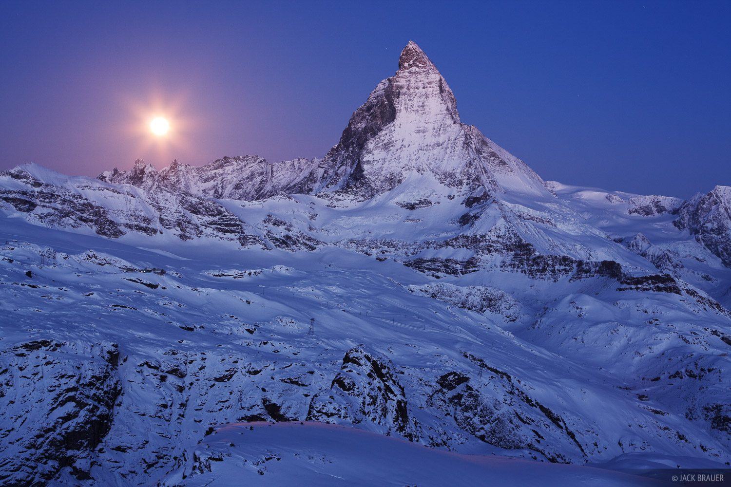 Matterhorn, moon, Zermatt, Switzerland, Cervino, Pennine, Alps, photo