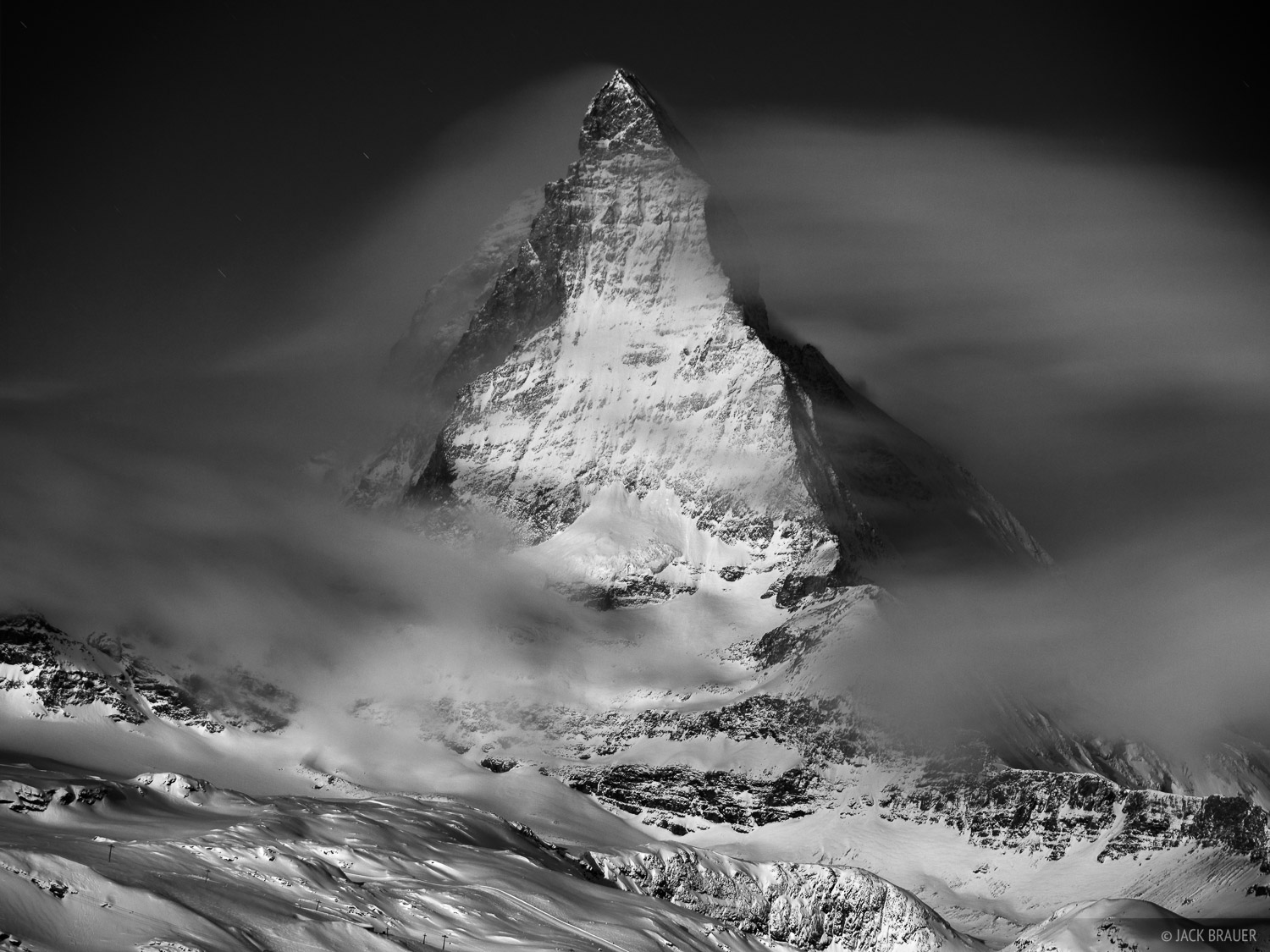 Matterhorn, winter, moonlight, Zermatt, Switzerland, photo