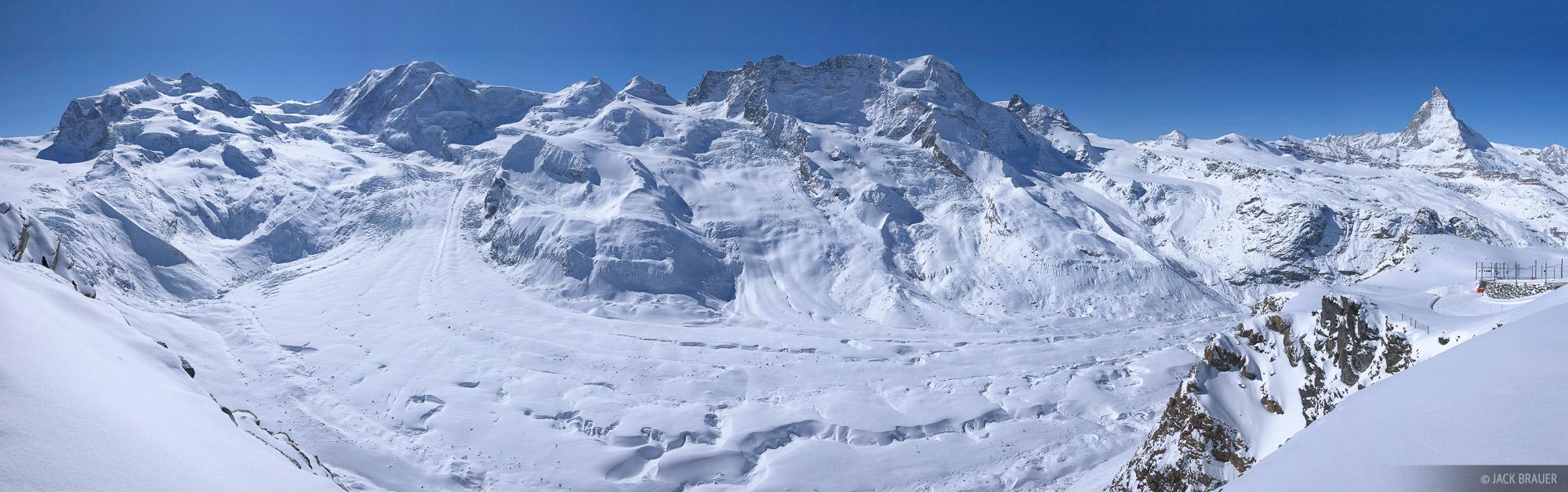 Gornergrat, Gornergletscher, glacier, panorama, Zermatt, Switzerland, winter, rugged, monte rosa, monterosa, march