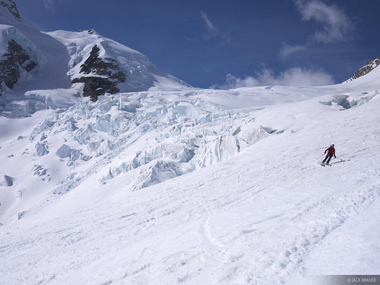 Skiing past some cracks.