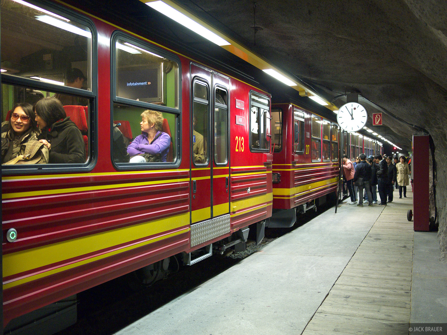 Our ride into the mountains - the Jungfraujoch train which climbs up through tunnels inside of the Eiger mountain.