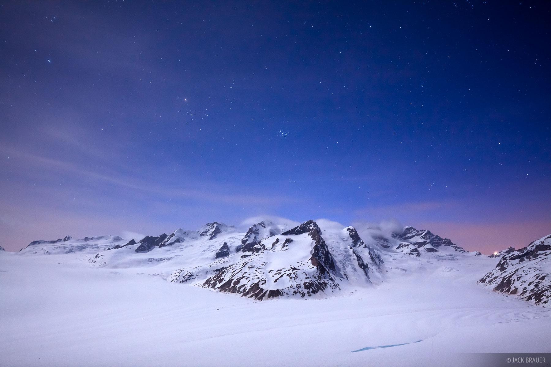 Konkordia, moonlight, Bernese Oberland, Switzerland, Aletsch Glacier, Bernese, photo