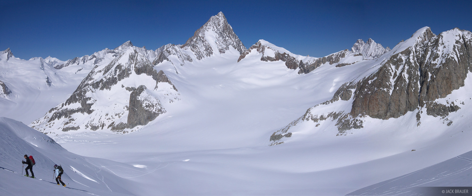 Skinning up Galmihorn, with a spectacular backdrop of the Finsteraarhorn (4273m).