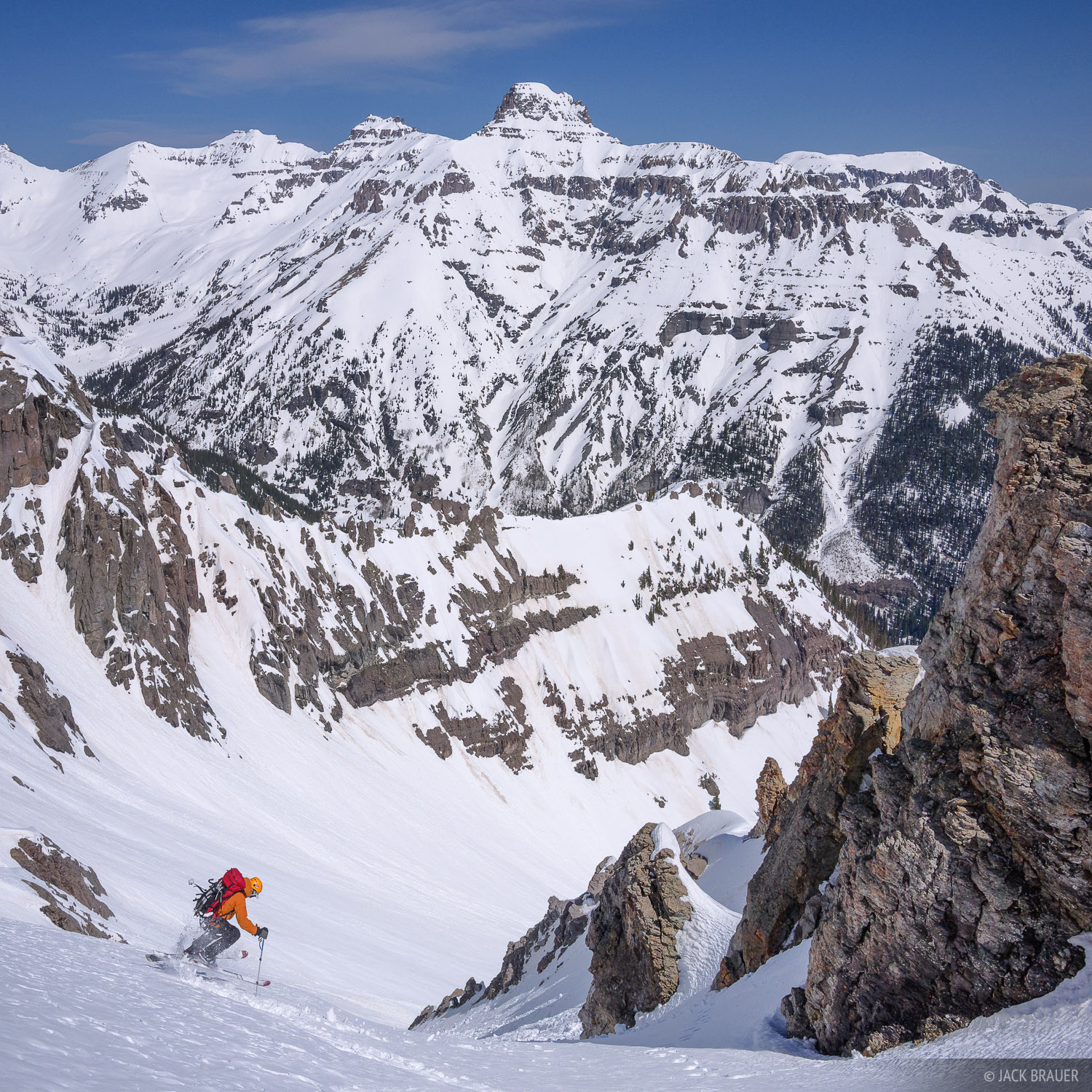 Potosi Peak, United States Mountain, Sneffels Range, San Juan Mountains, Colorado, May, skiing, photo