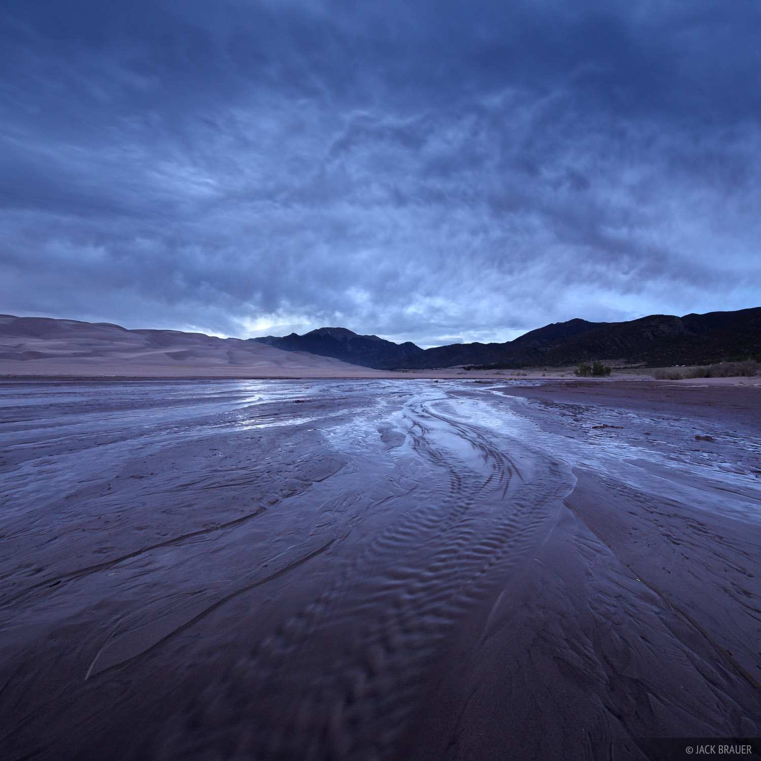 Medano Creek, Great Sand Dunes, Colorado, clouds, photo