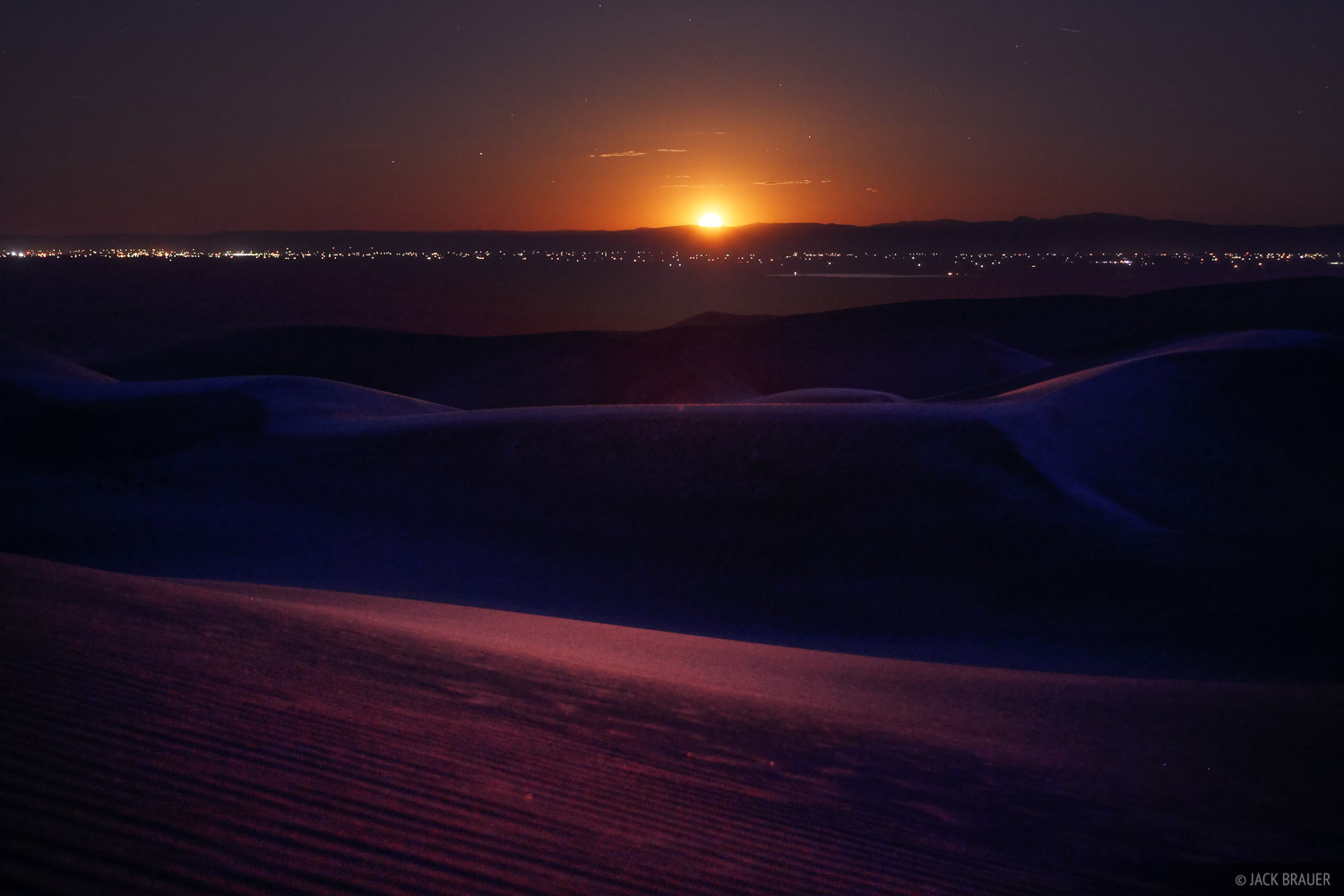 Great Sand Dunes, Colorado, moonset, San Luis Valley, photo