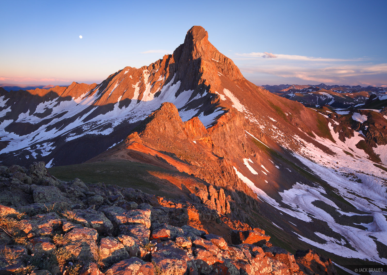 Wetterhorn Peak, Uncompahgre Wilderness, fourteener, sunset, San Juan Mountains, Colorado, photo
