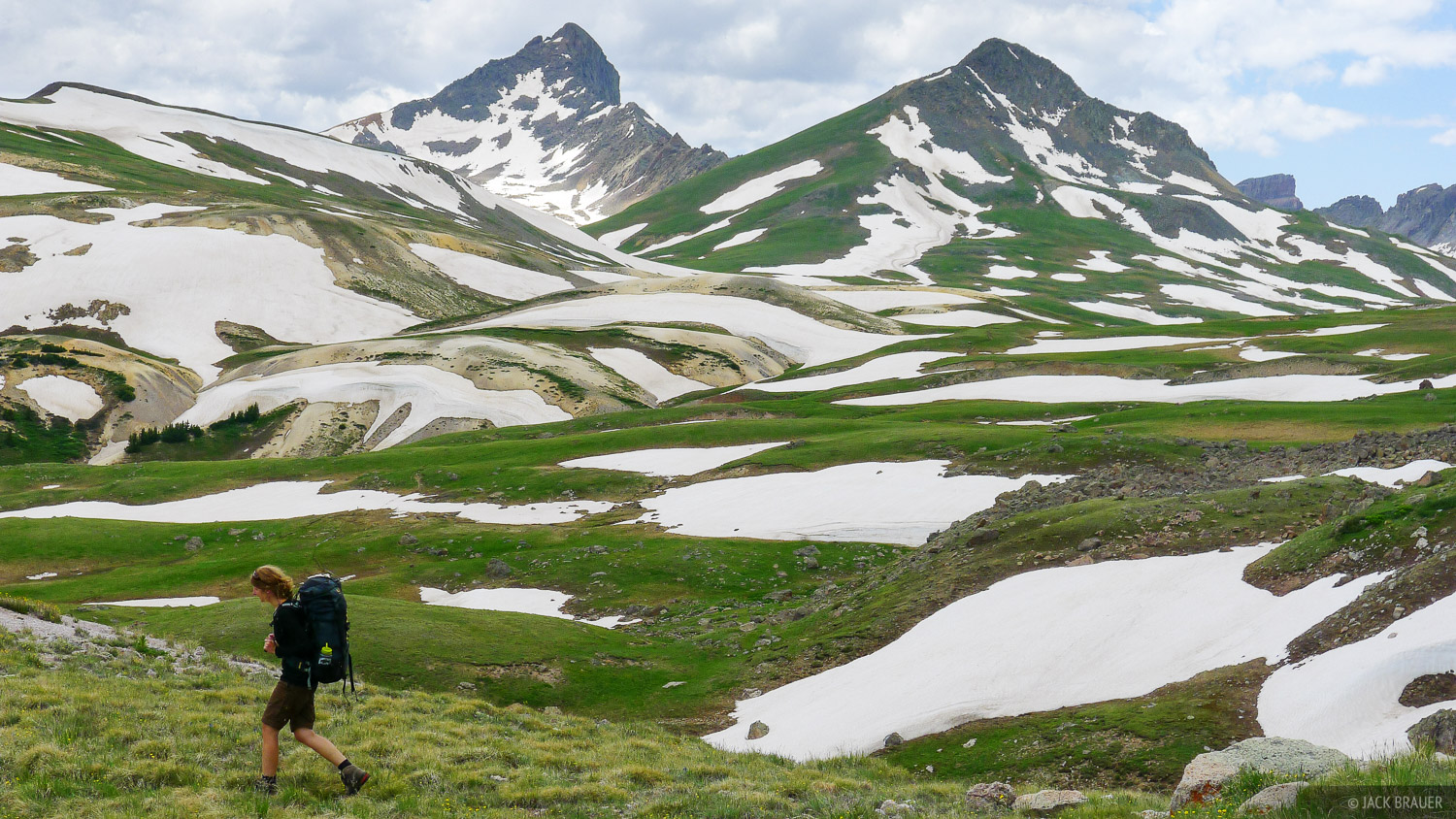 hiking, tundra, Wetterhorn Peak, San Juan Mountains, Colorado, photo