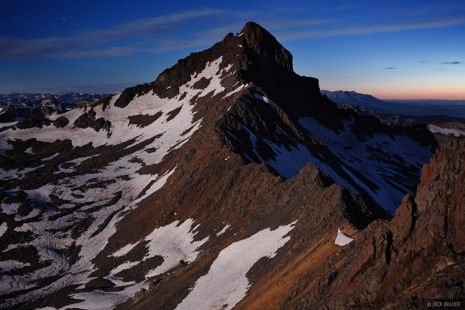 Wetterhorn Peak, moonlight, San Juan Mountains, Colorado, photo