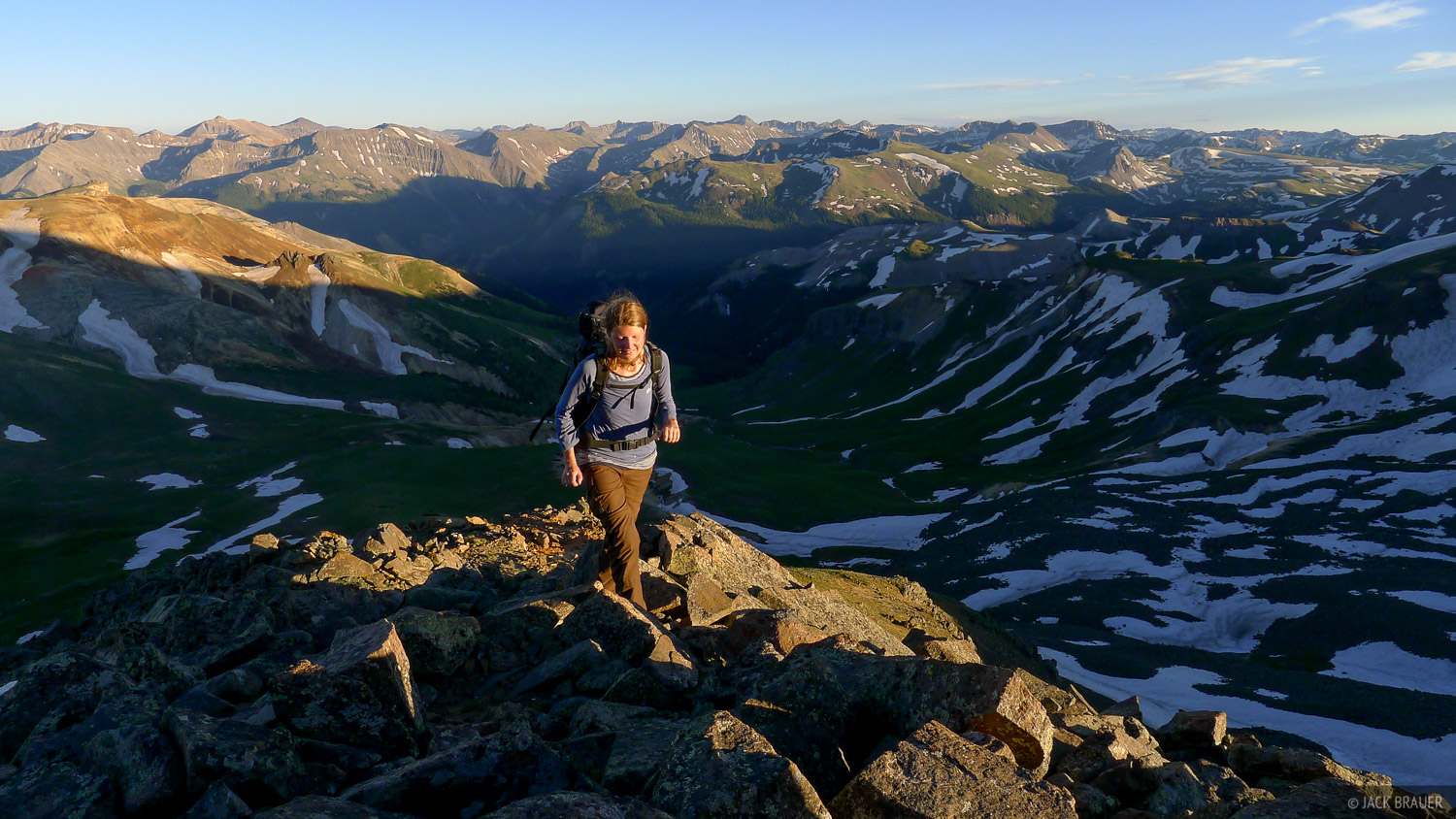 Hiking up Matterhorn Peak in the late afternoon to watch the sunset and moonrise.
