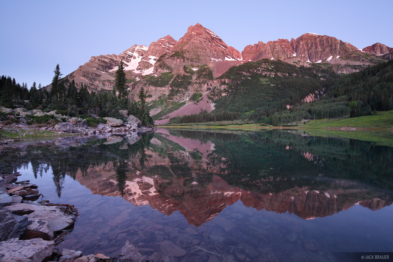 Crater Lake, Maroon Bells, Elk Mountains, Colorado, reflection, photo