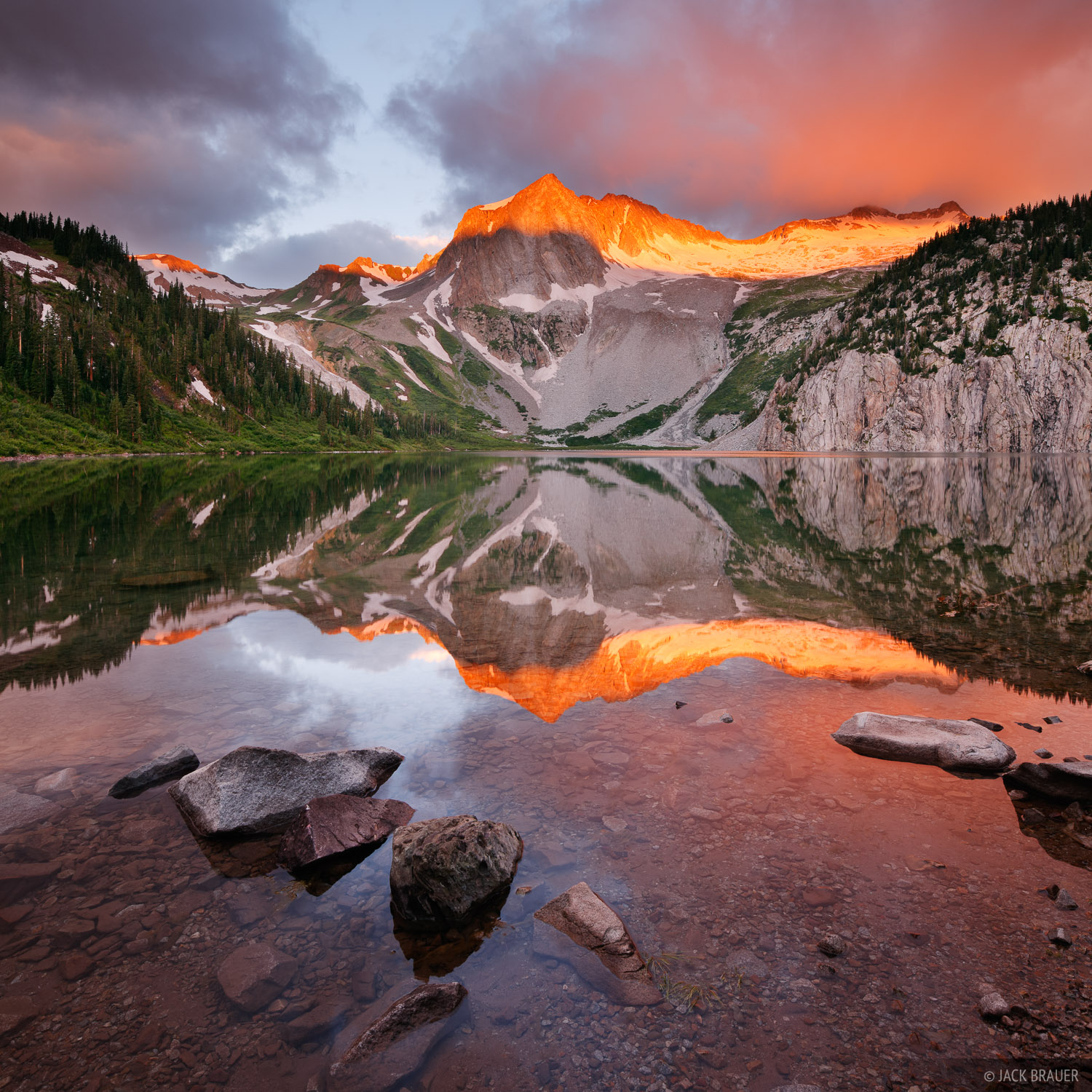 Snowmass Lake, Snowmass Mountain, sunrise, alpenglow, reflection, Elk Mountains, Colorado, photo