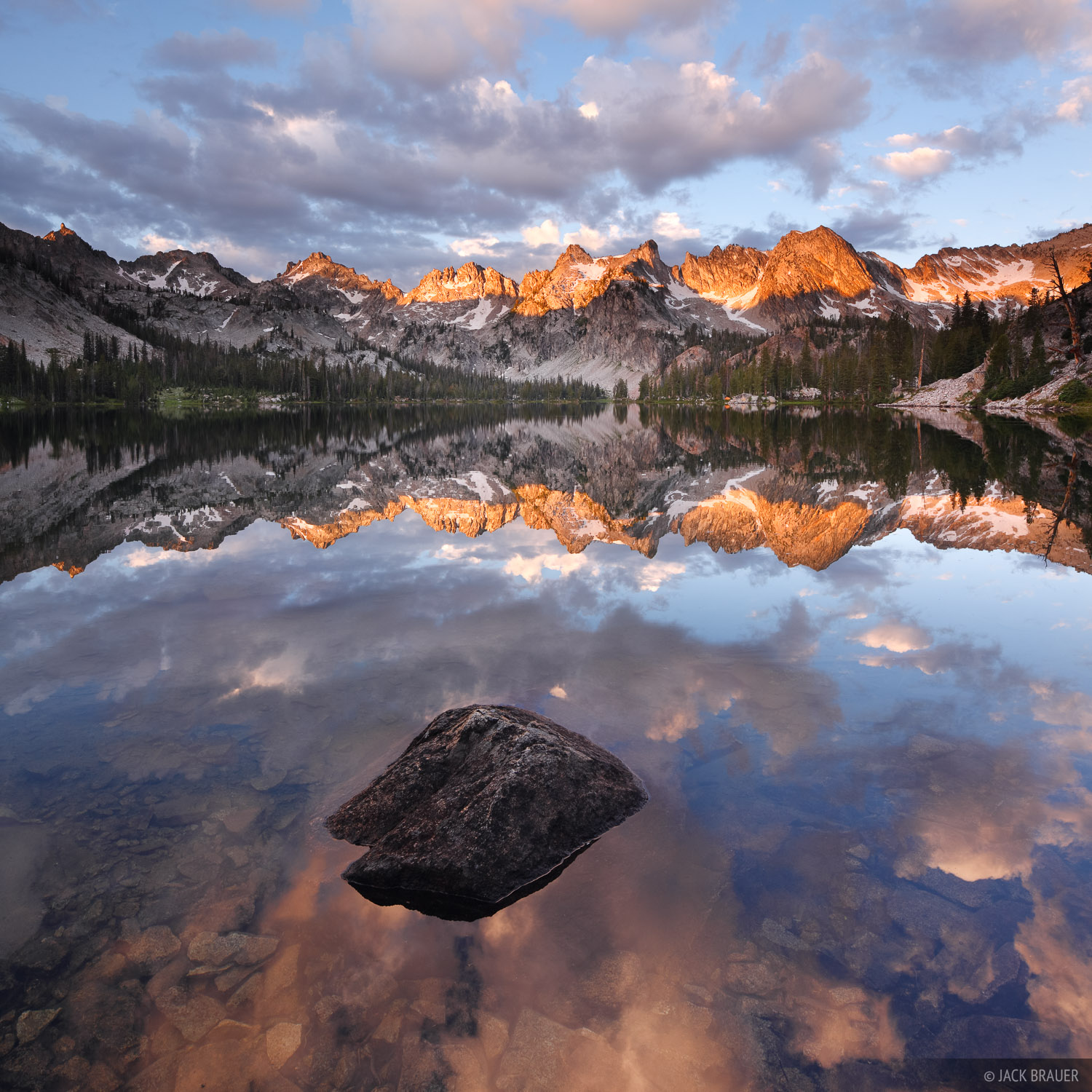 Idaho,Sawtooths, Alice Lake, sunrise, reflection, photo