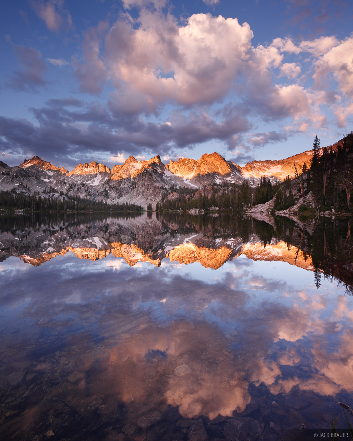 Idaho,Sawtooths, sunrise, reflection, Alice Lakes, photo
