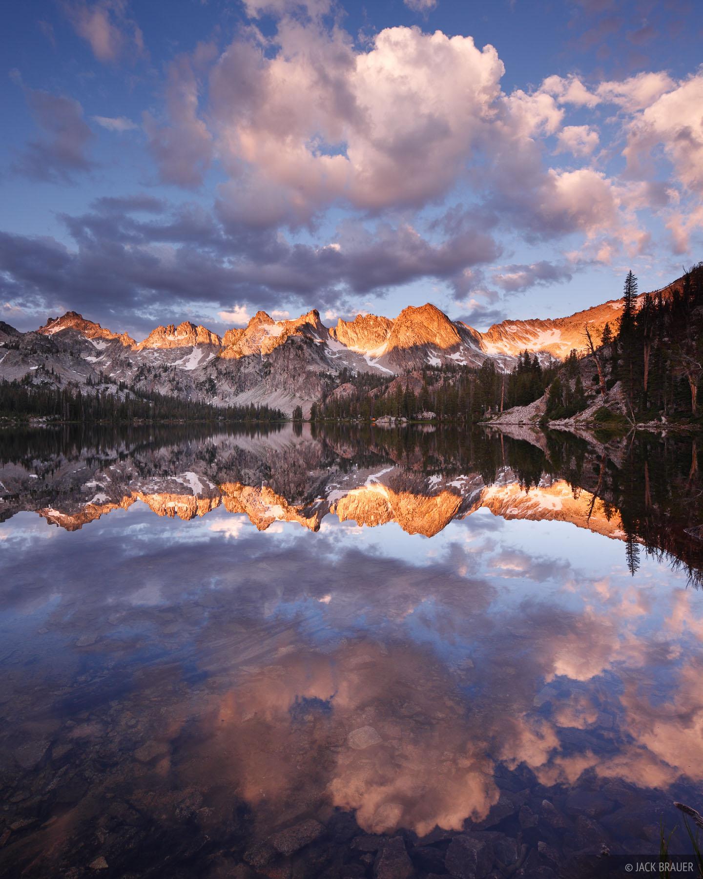 Idaho,Sawtooths, sunrise, reflection, Alice Lakes, photo